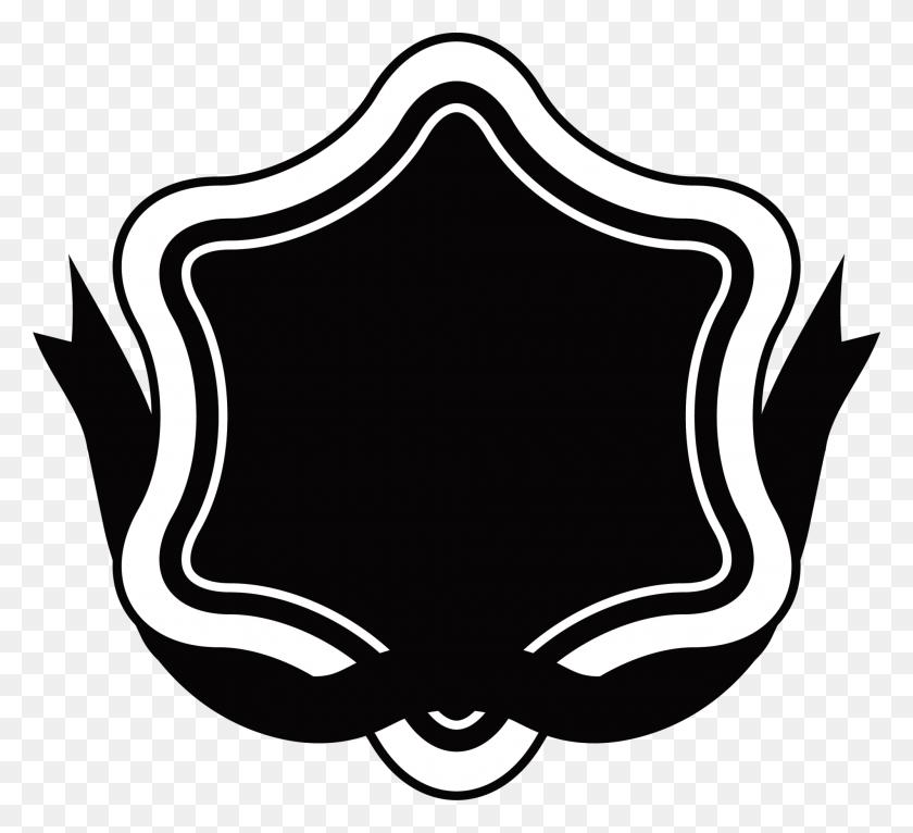 Ribbon Label Logo Clip Art - Black Stars PNG