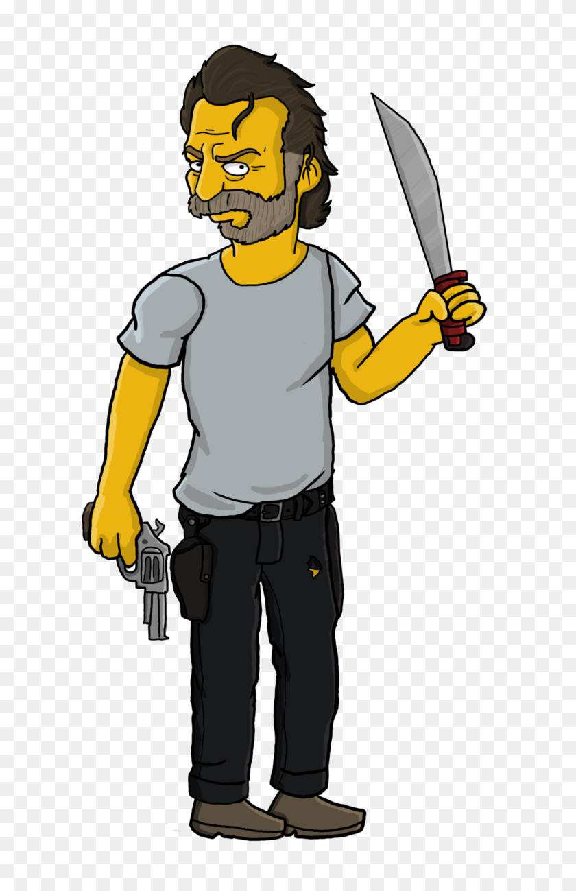 Rick Grimes Simpson - Rick Grimes PNG