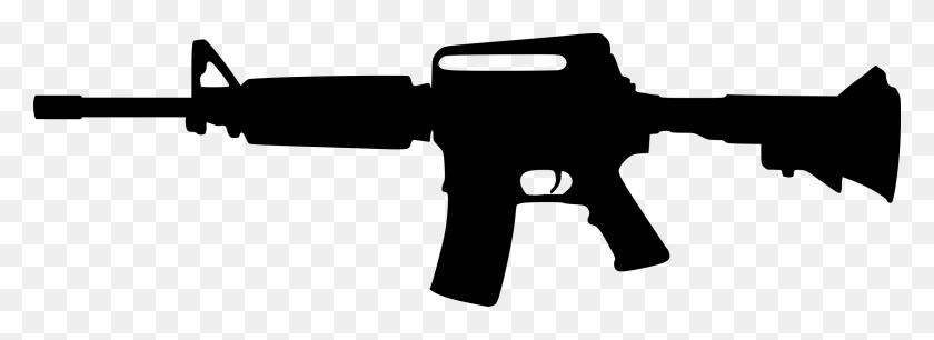 2400x757 Rifle Silhouette Clip Art - M4 Clipart