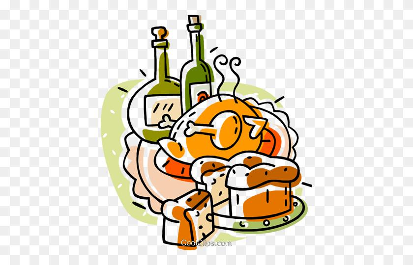 Roast Turkey With Bottles Of Wine Royalty Free Vector Clip Art - Roast Turkey Clipart