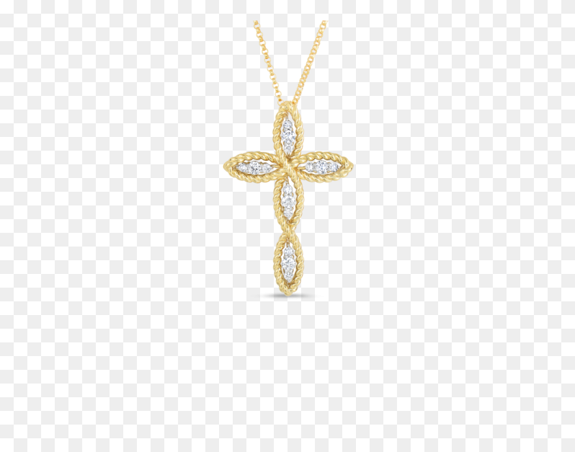 Roberto Coin Gold Cross Pendant With Diamonds Santa Fe Jewelry - Gold Cross PNG