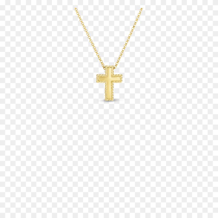 Roberto Coin Gold Small Princess Cross Pendant - Gold Cross PNG