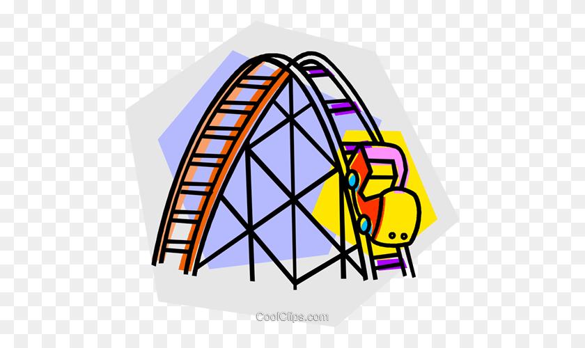 Roller Coaster Rides Royalty Free Vector Clip Art Illustration - Roller Coaster Clipart
