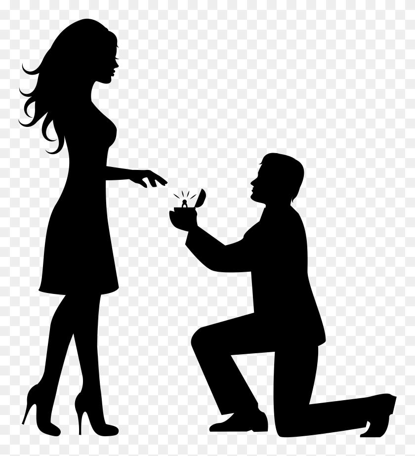 Romantic Couple Silhouettes Clip Art - Romantic Clipart