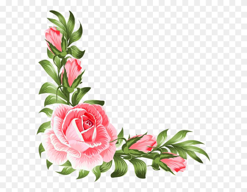 Rose Corner Decoration Png Clip - Rose Flower PNG