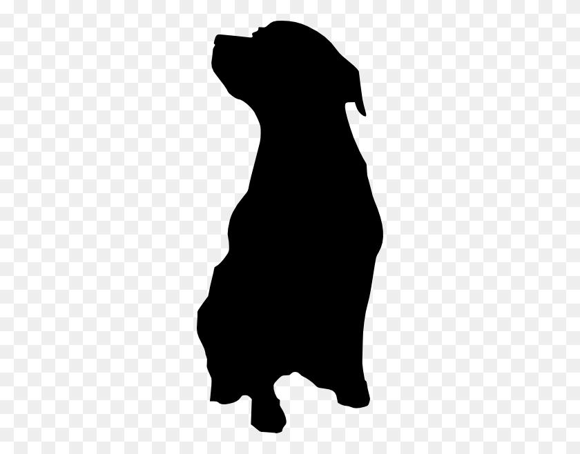 Rottweiler Dog Silhouette Clip Art - Sitting Dog Clipart
