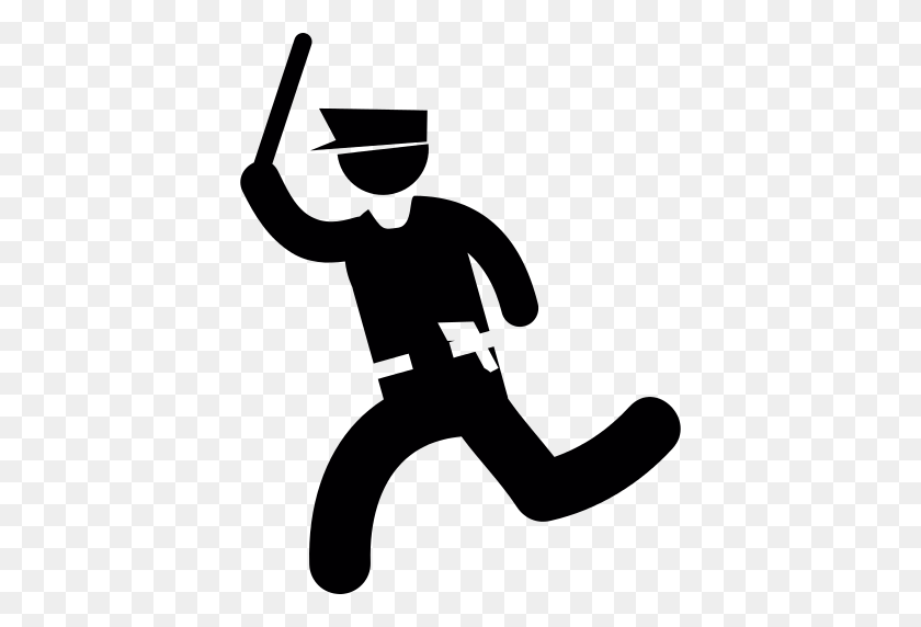Running Cop Png Icon - Cop Hat PNG
