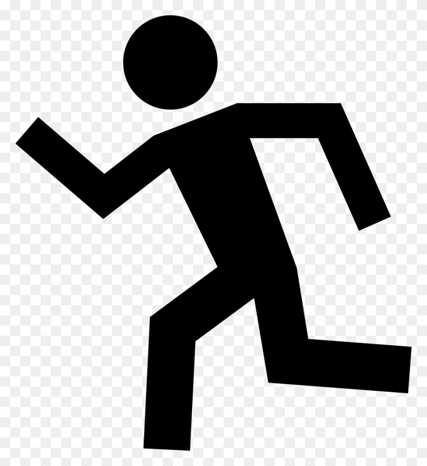 Running Man Silhouette To Left Png Icon Free Download - Man Running PNG
