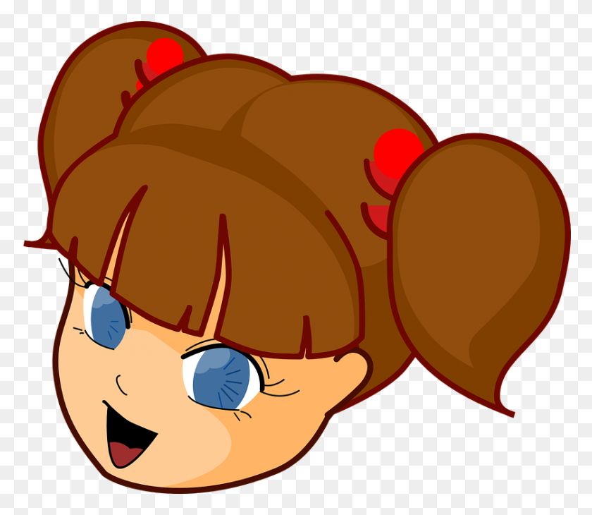 Sad Cartoon Girl With Brown Hair, Girl Face Cartoon Clip Art - Sad Woman Clipart