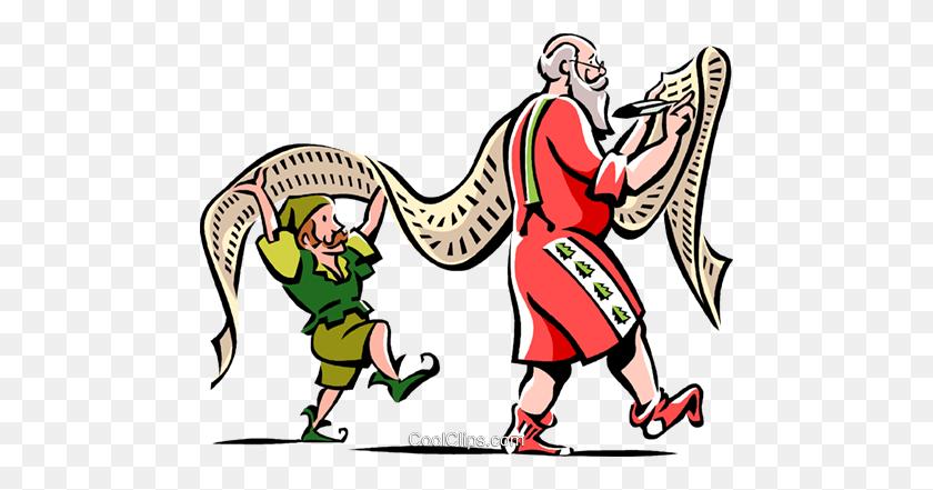 Santa And An Elf With A Christmas List Royalty Free Vector Clip - Santas List Clipart