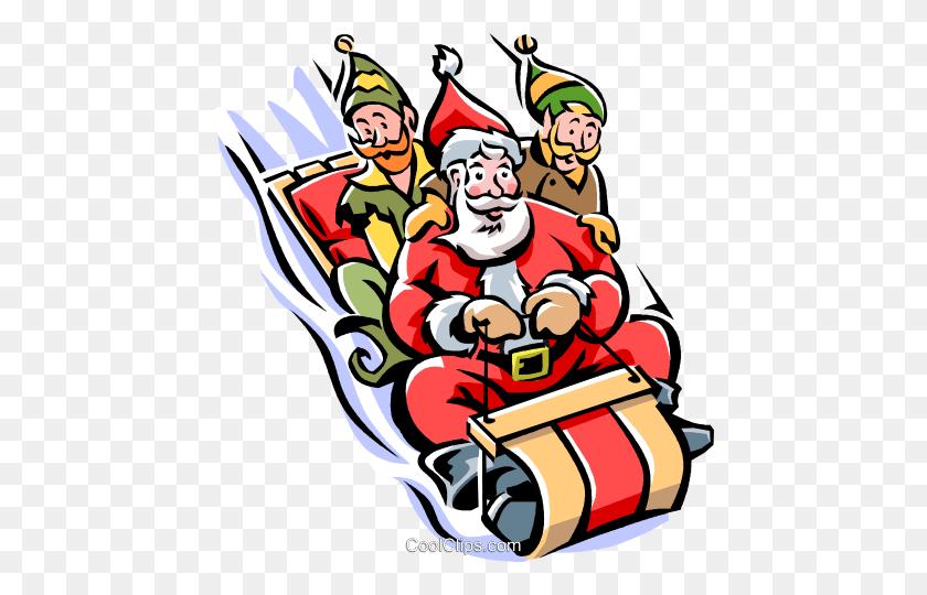 Santa And His Elves On A Toboggan Royalty Free Vector Clip Art - Santas Elves Clipart