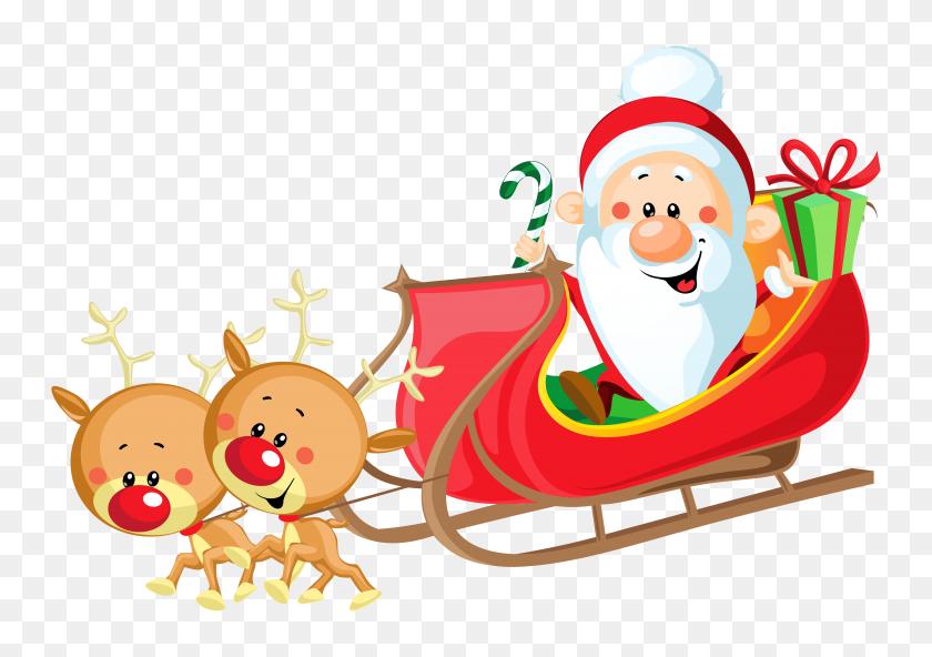 Santa And Sleigh Clipart Look At Santa And Sleigh Clip Art - Sled Dog Clip Art