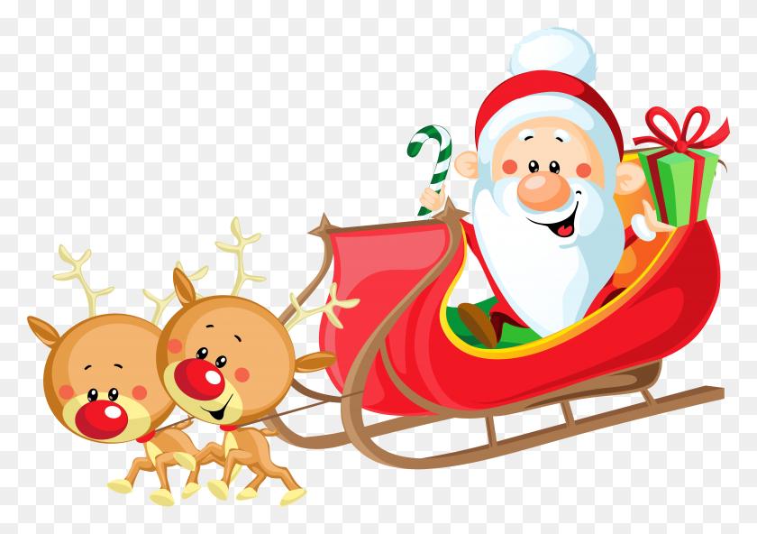 Santa Claus Clipart Santa Claus Sled Reindeer Santa On Sleigh Png - Saint Nicholas Clipart