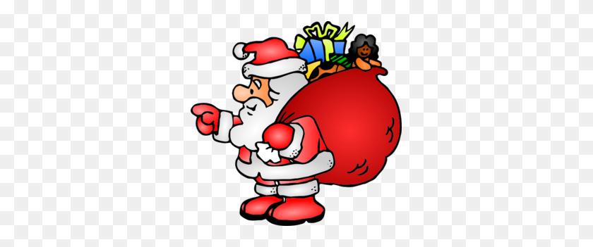 Santa Claus With His Bag Clip Art - Santa Sack Clipart