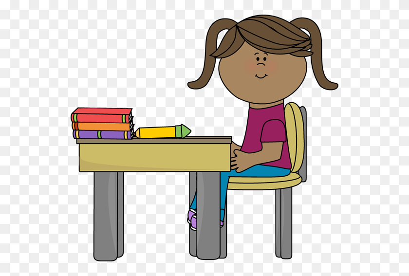 School Girl Sitting - School Girl Clipart