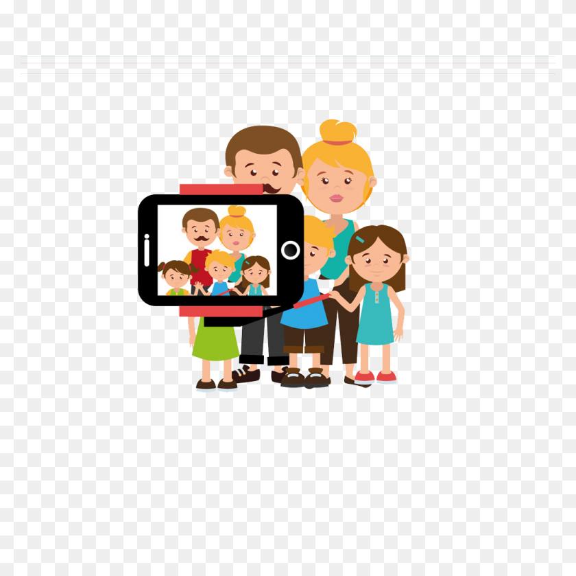 Selfie Cartoon Photography Illustration - Family Portrait Clipart