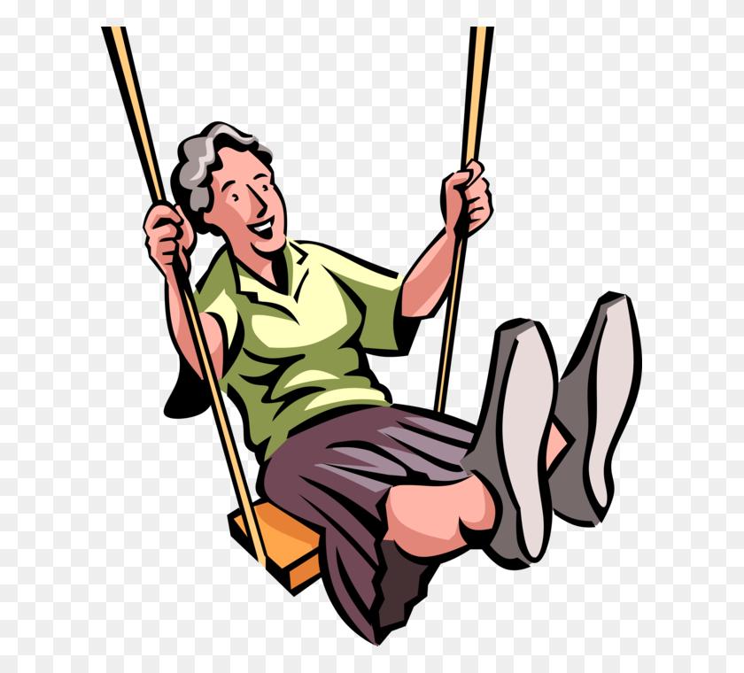 611x700 Senior Citizen Swinging On Swing - Free Clipart Senior Citizens