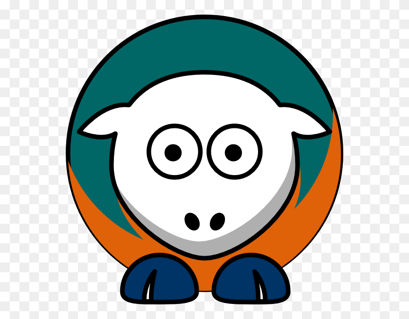 Sheep Toned Miami Dolphins Team Colors Clip Art - Miami Dolphins Clipart