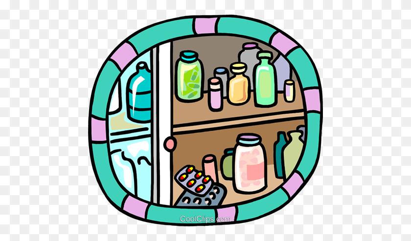 Shelves Holding Bottles Of Medication Royalty Free Vector Clip Art - Medication Clipart