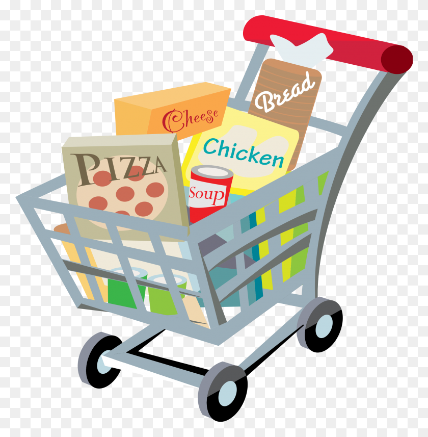 Shopping Cart With Food Clip Art - No Food Clipart