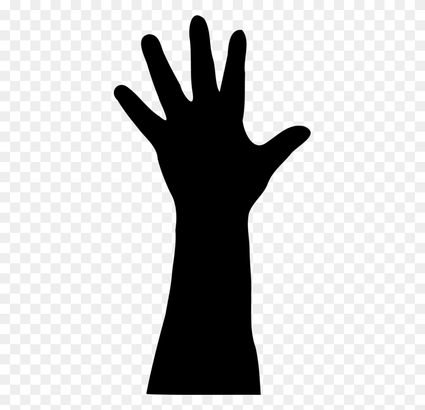 Silhouette Hand Drawing - Raised Hands PNG