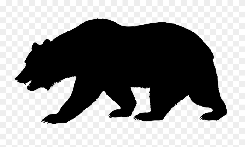 Silhouette Of Bear Jogging Through The Forest A Forest Animal - Woodland Bear Clipart