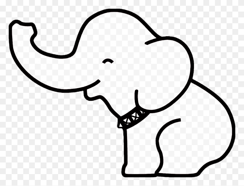 Simple Elephant Outline Free Download Clip Art Png - Elephant Face Clipart
