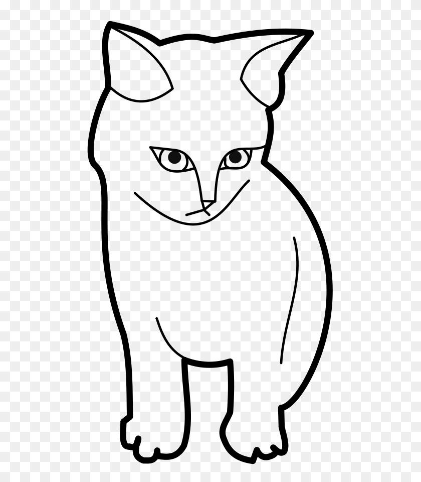 Sitting Cat Outline Clip Arts Download - Cat Clipart Outline