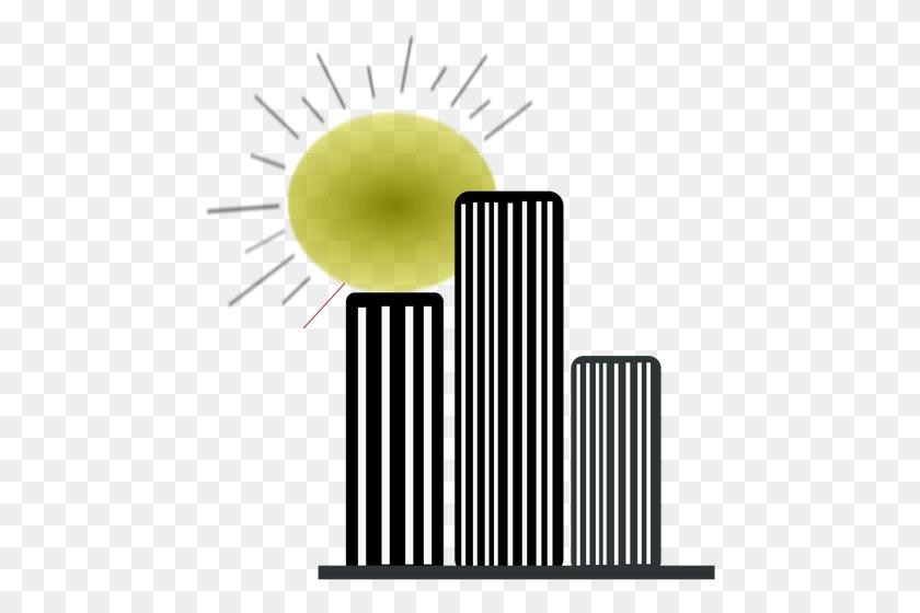 Skyscrapers Silhouettes With The Sun Vector Graphics Public - Skyscraper Clipart