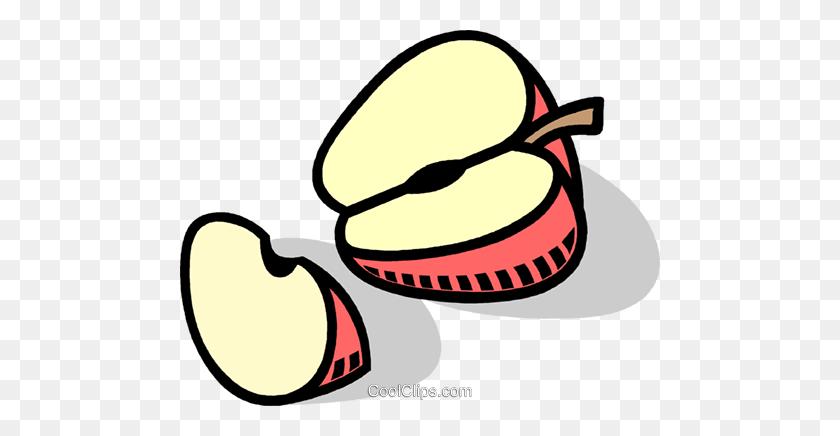 Sliced Apples Royalty Free Vector Clip Art Illustration - Sliced Apple Clipart