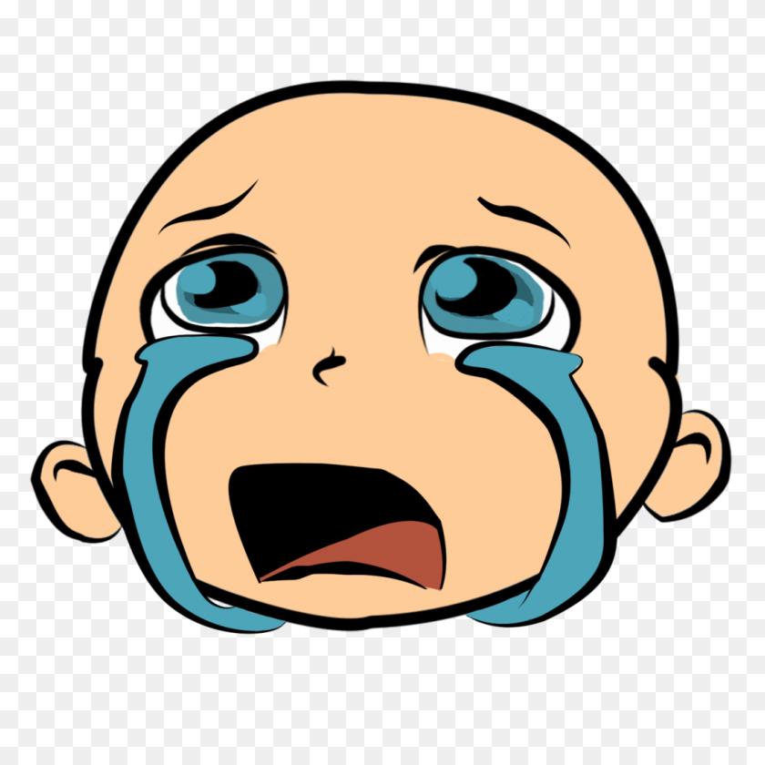 1024x1024 Smiley Crying Emoticon Clip Art - Baby Head Clipart