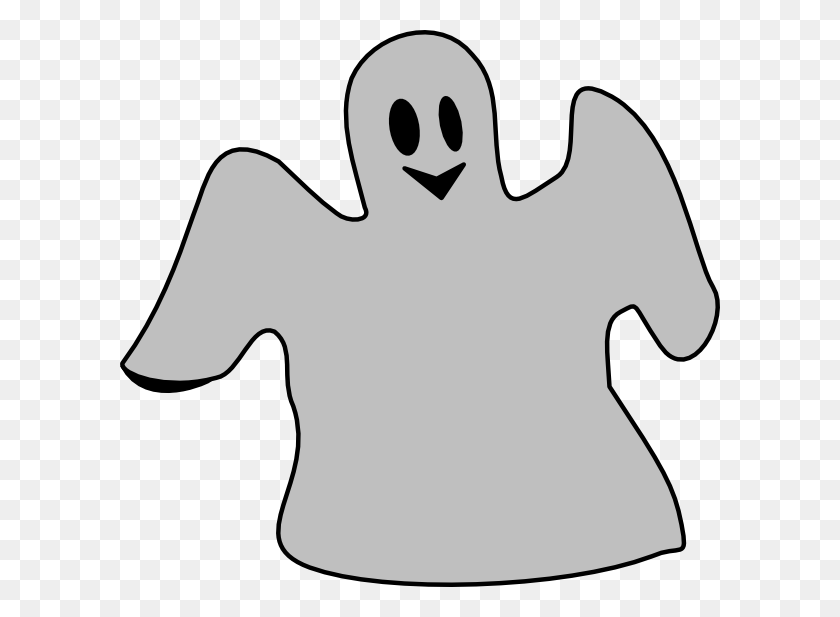 Smiling Gray Ghost Clip Art - Gray Clipart