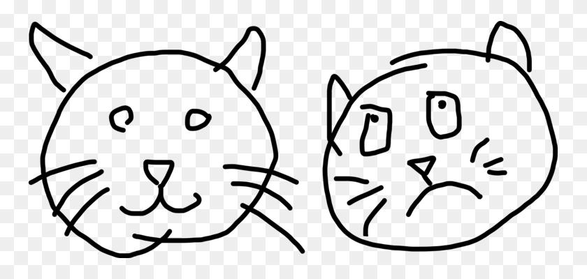 757x340 Snout Whiskers Cartoon Line Art - Arctic Fox Clipart