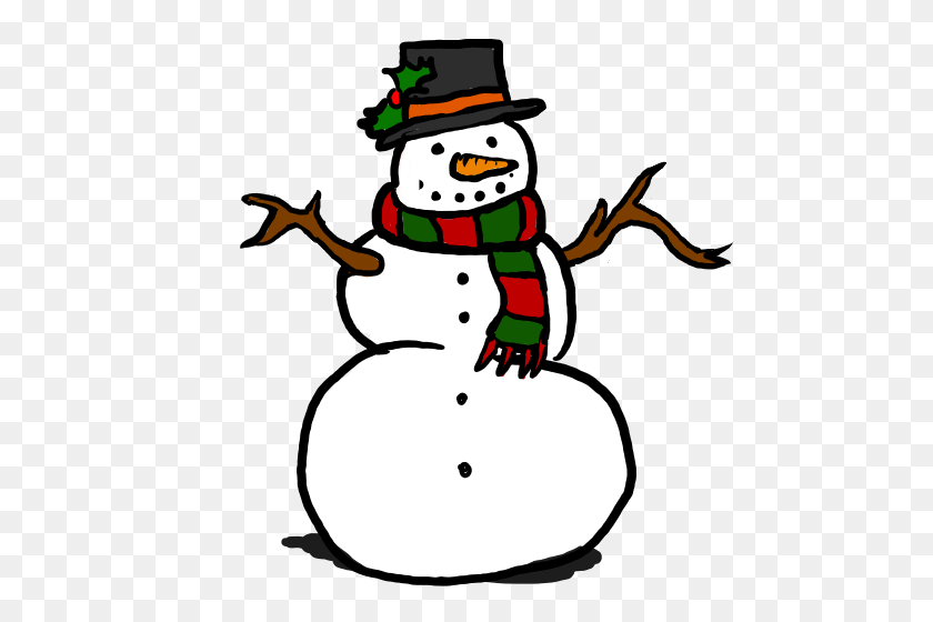 Snowman Clipart December - Snowflakes Falling Clipart