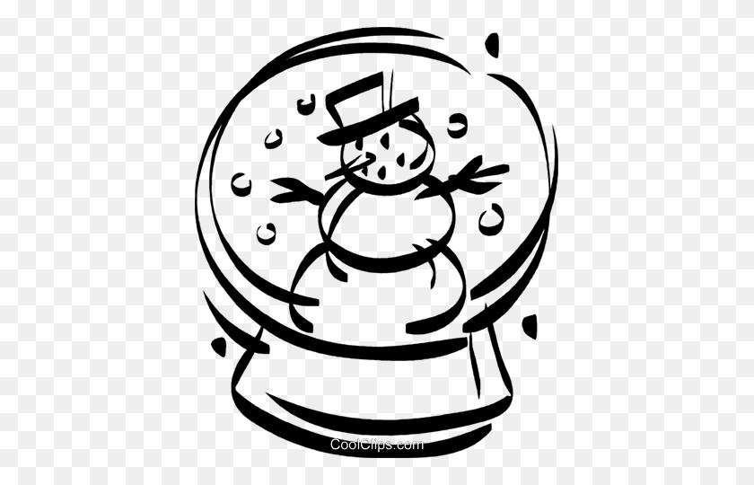 Snowman In A Snow Globe Royalty Free Vector Clip Art Illustration - Snow Globe Clipart