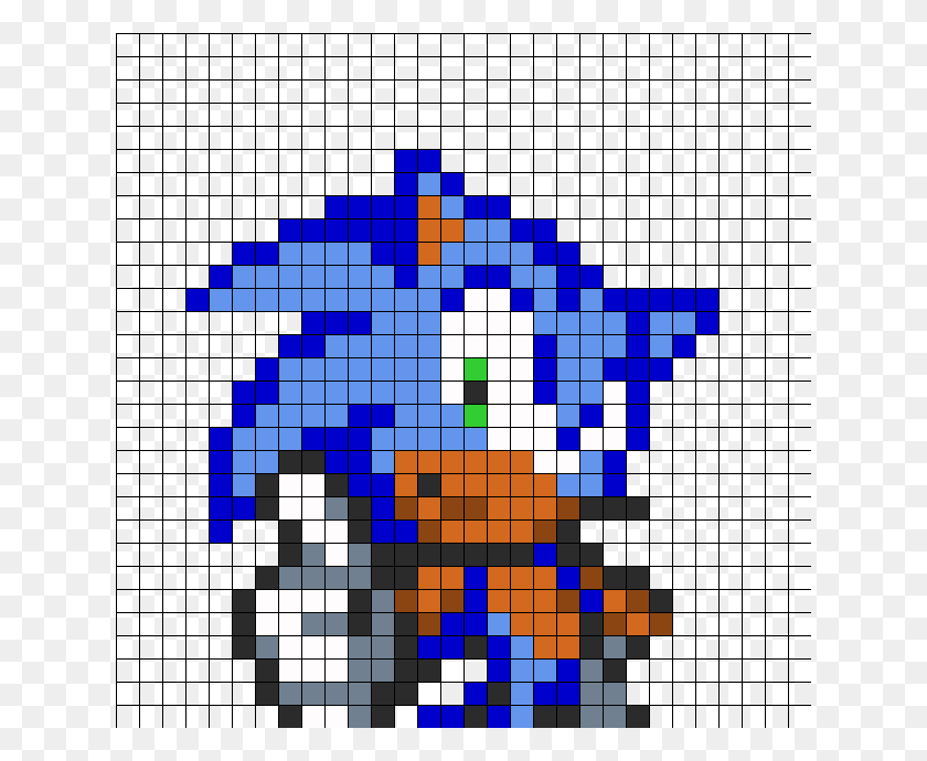 Sonic Perler Bead Pattern Bead Sprites Characters Fuse Bead - Sonic Sprite PNG