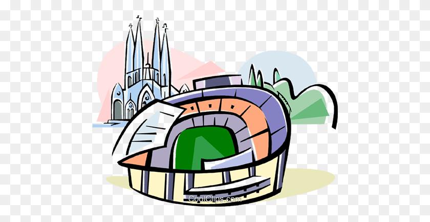 Spain Nou Camp Stadium Barcelona Royalty Free Vector Clip Art - Stadium Clipart