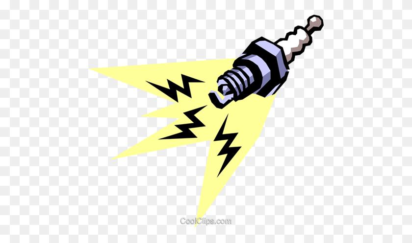 480x437 Spark Plug Royalty Free Vector Clip Art Illustration - Spark Clipart