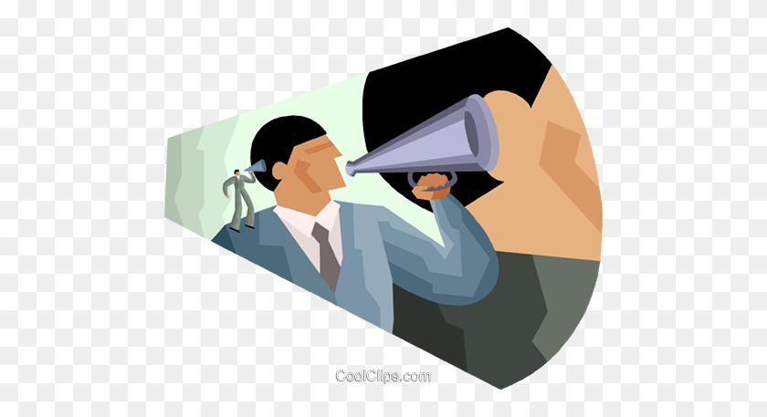 480x397 Speaking Through A Megaphone Royalty Free Vector Clip Art - Megaphone Clipart Free