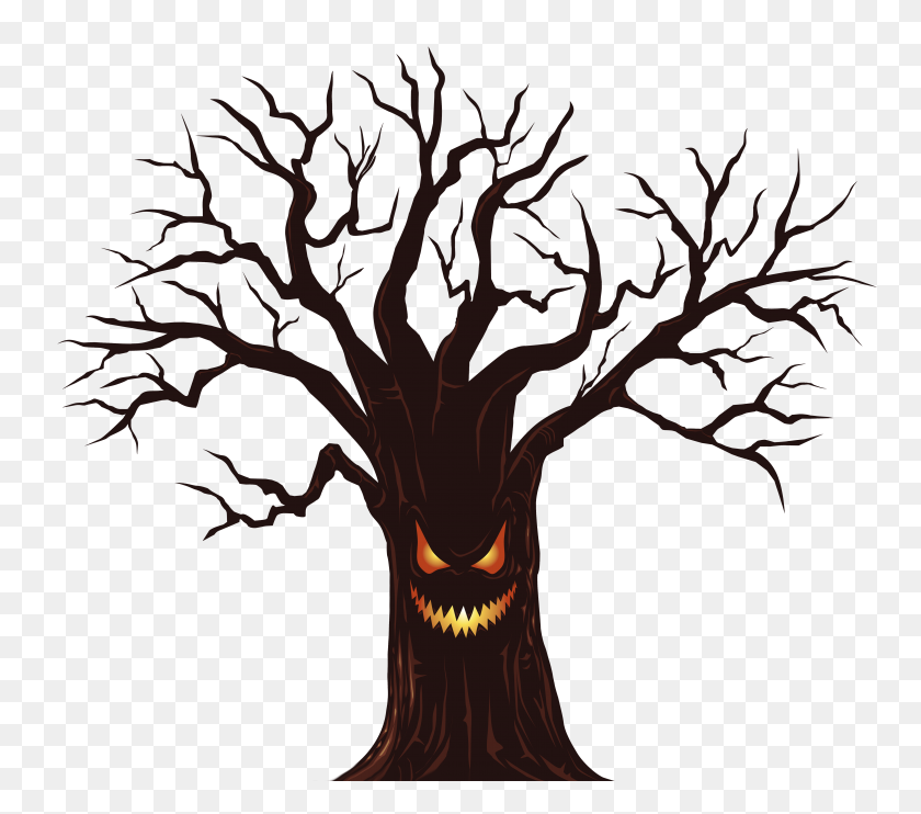 Spooky Tree Clipart Group With Items Dogwood Tree Clipart