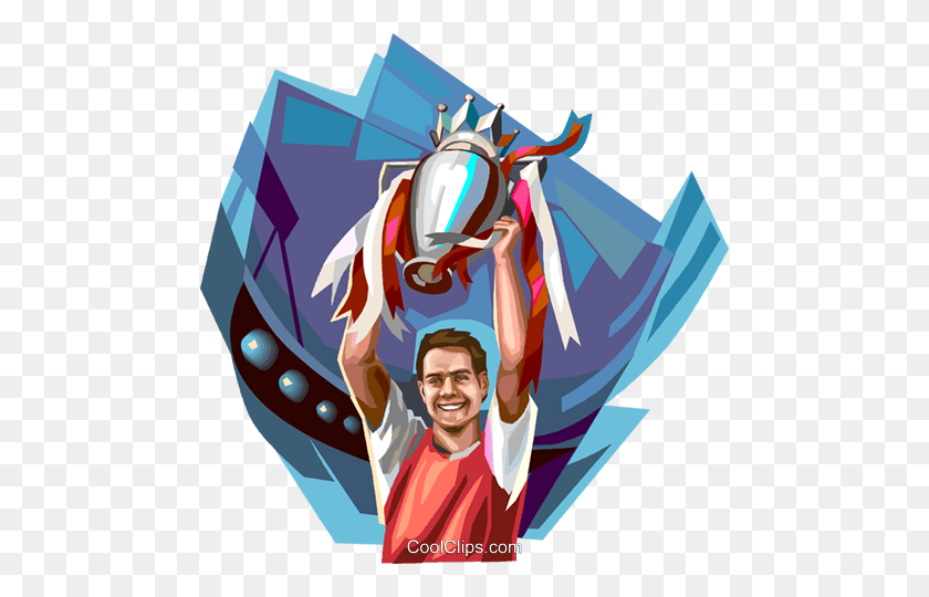 Sports Champion With Trophy Royalty Free Vector Clip Art - Champion Clipart