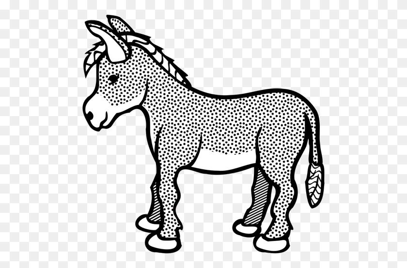 Spotty Donkey Line Art Vector Clip Art - Donkey Clipart