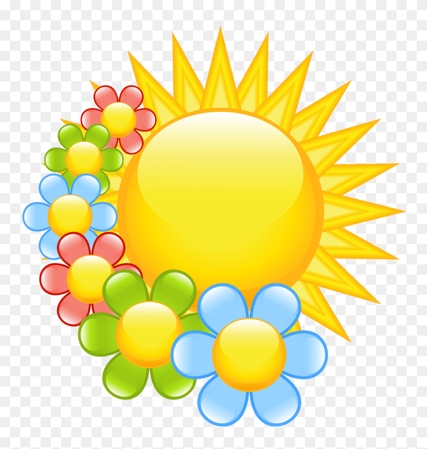 Spring Sun With Flowers - Spring Flowers Clip Art