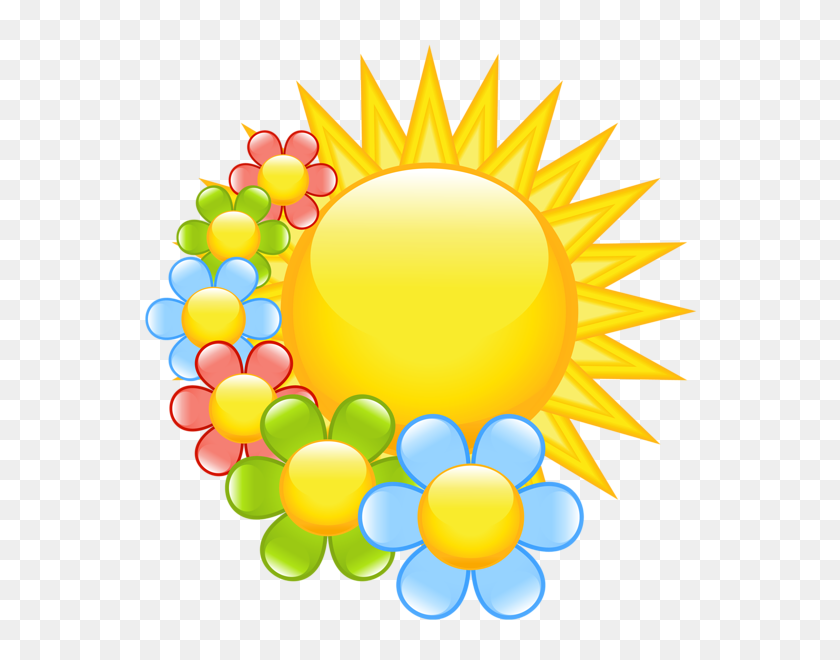 Spring Sun With Flowers Clipart Emojis Clip Art - Spring Flower Border Clipart