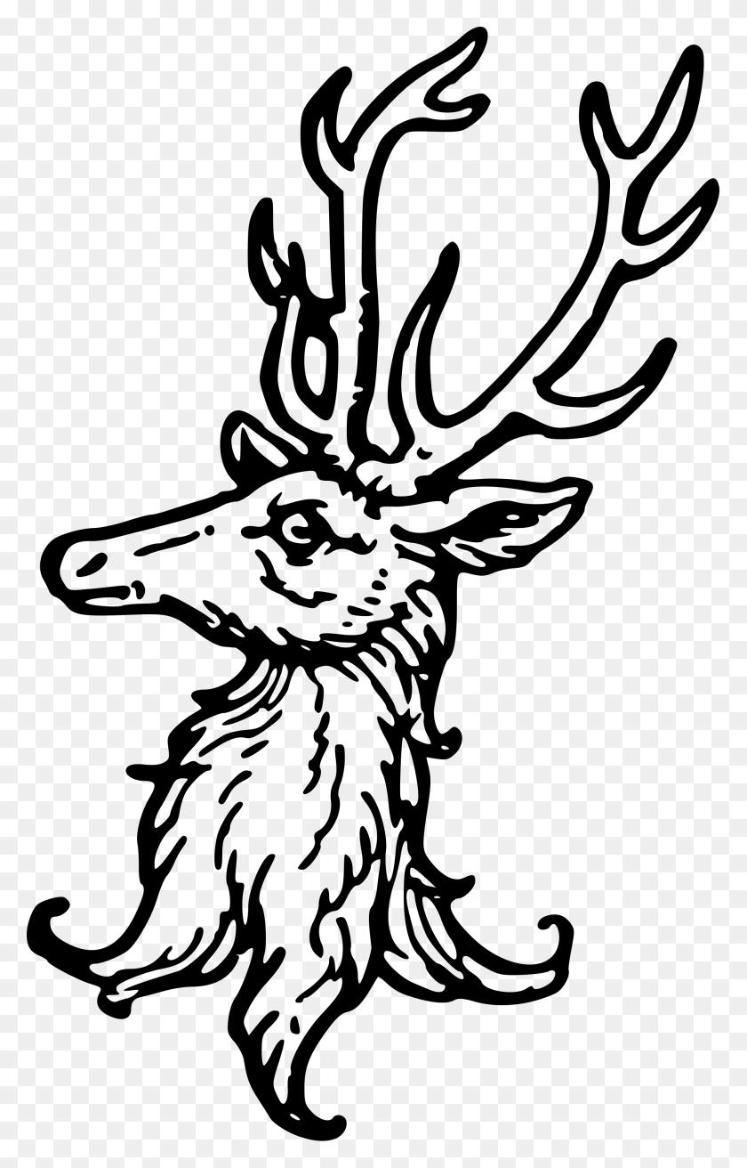 Stag Clipart Heraldic - Reindeer Head Clipart