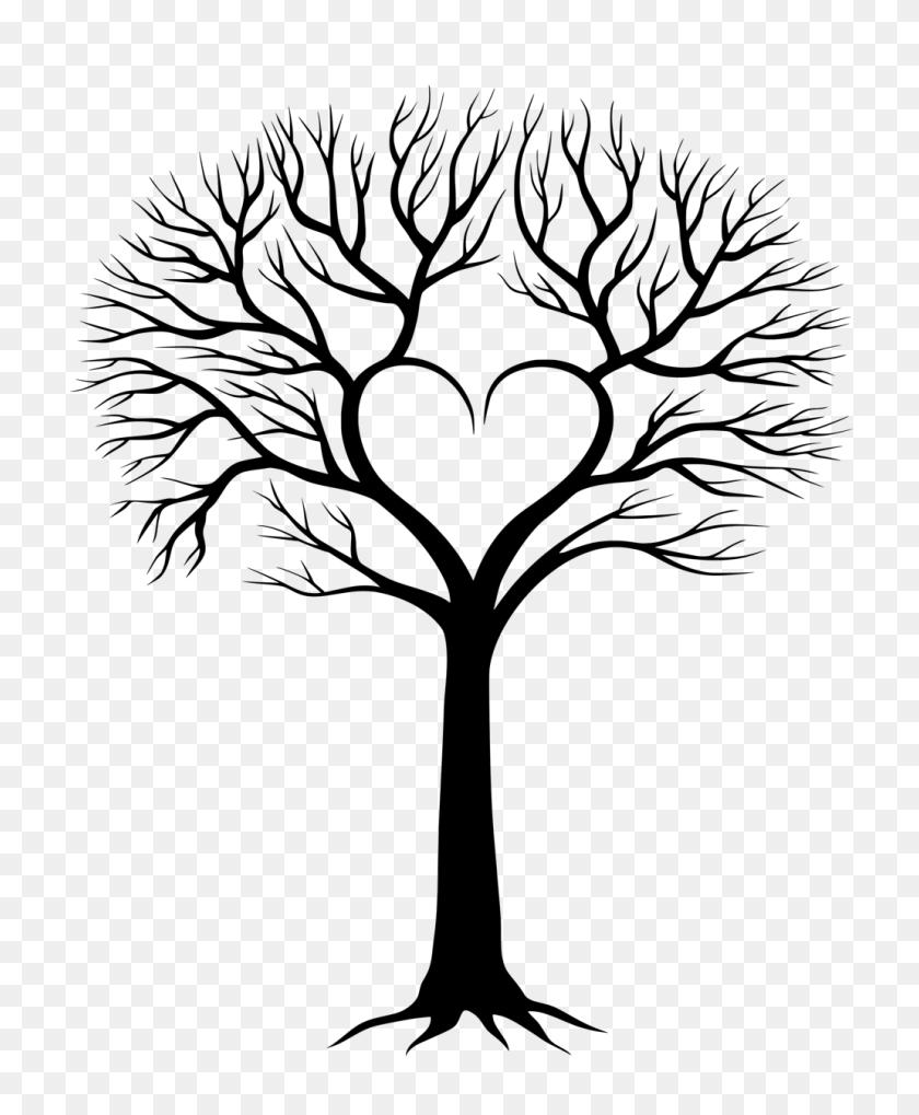 Stencils Heart Tree, Tree - Family Heart Clipart
