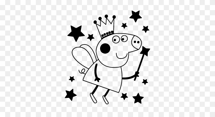 Sticker Peppa Pig - Peppa Pig Clipart Black And White