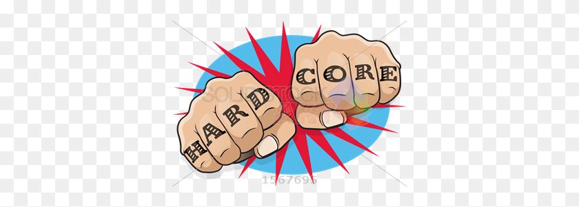 Stock Illustration Of Pop Art Fists Tattooed Hard Core On Sunburst - Pop Art PNG