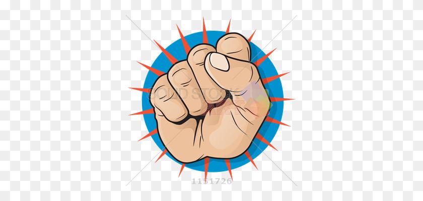 Stock Illustration Of Vector Punching Fist Pop Art On Red Sunburst - Pop Art PNG