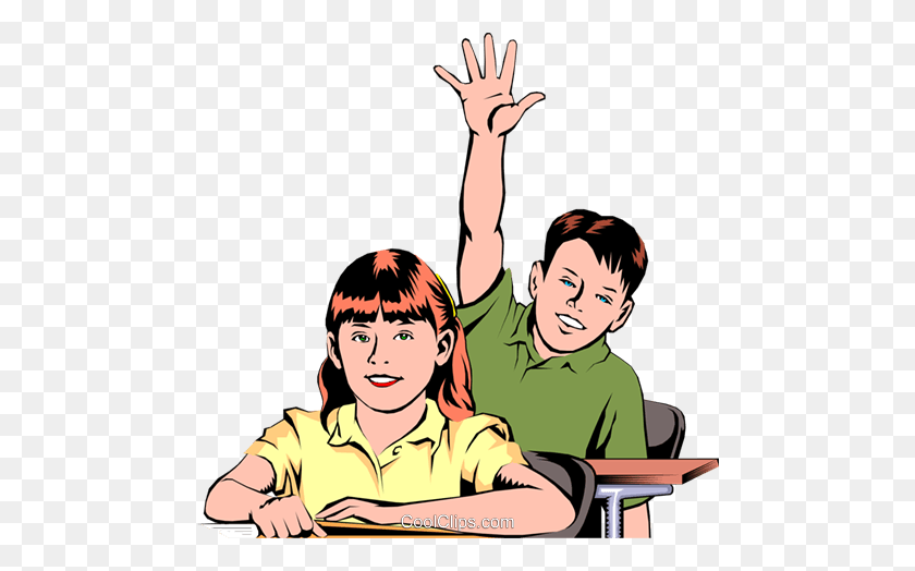 Student Raising Hand Royalty Free Vector Clip Art Illustration - Student Raising Hand Clipart